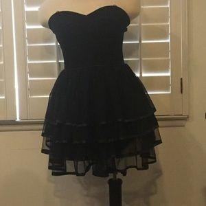 Strapless Ruffle Black Prom Dress